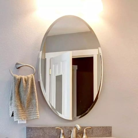 Mirror Trend Oval Frameless Beveled Wall Mirror - 22*32*0.71