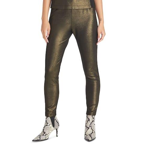 Rachel Rachel Roy Womens Pants Gold Large L Crepe Knit Shimmer Legging