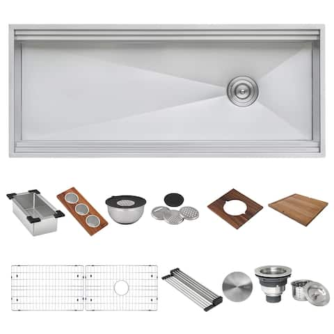 """Ruvati 45-inch Workstation Two-Tiered Ledge Kitchen Sink Apron-Front 16 Gauge Stainless Steel - RVH9333 - 45"""" x 20-1/8"""
