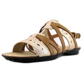 Tod's Sandale Flat Fondo Gomma Forature Open-Toe Leather Slingback Sandal