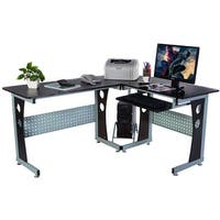 Smoked Tempered Glass L Shaped Computer Desk Free