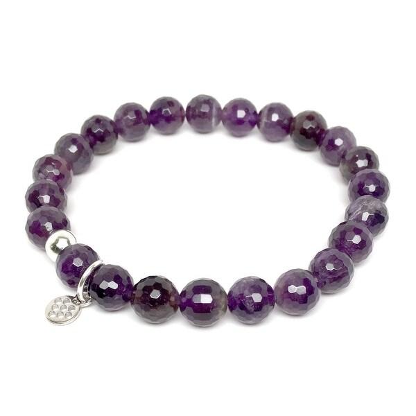 "Purple Amethyst Lucy 7"" Sterling Silver Stretch Bracelet"