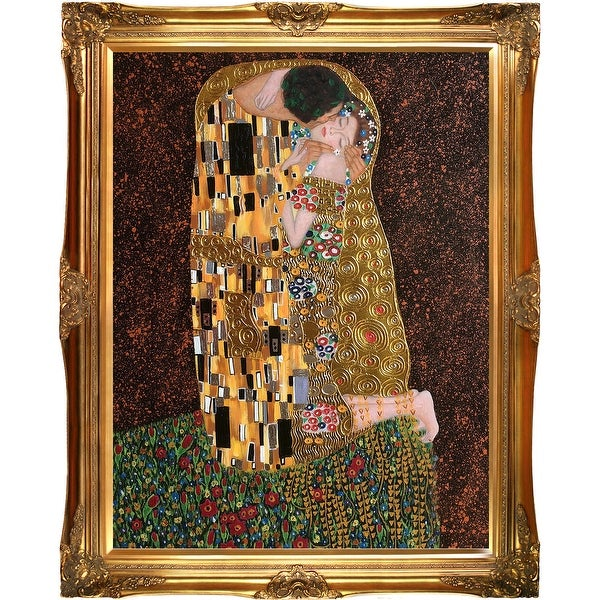 The Kiss, Full View by Gustav Klimt Metallic Embellished Framed Hand Painted Oil on Canvas