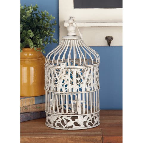 White Iron Vintage Birdcage (Set of 2) - 8 x 8 x 15