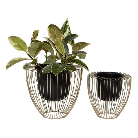 """Vase-like Black And Gold Indoor Planters Set Of 2 10"""" 12"""" - 13 x 13 x 12"""
