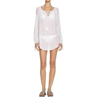 Nanette Lepore Womens Cotton Embroidered Swim Top Cover-Up