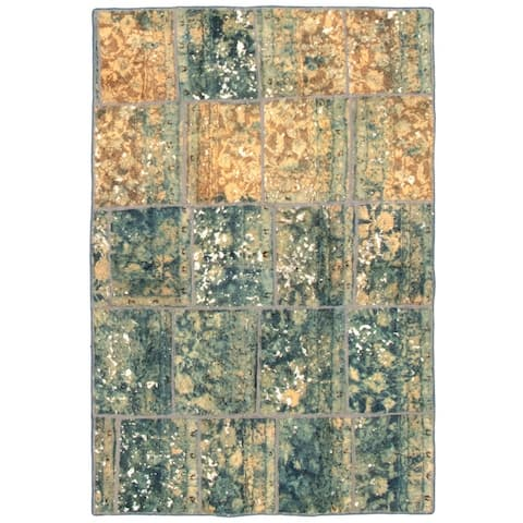 Hand-knotted Color Patchwork Blue, Grey Wool Rug - 4'9 x 6'11