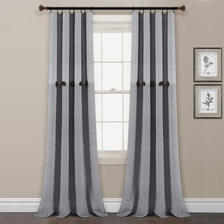 Link to Lush Decor Farmhouse Button Stripe Yarn Dyed Woven Cotton Window Curtain Panel Pair Similar Items in Window Treatments