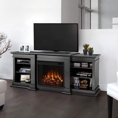 Fresno Black Electric Media Fireplace - 71.73L x 18.98W x 29.88H