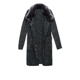 Bobeau Hanne Sweater Coat with Faux Fur Collar