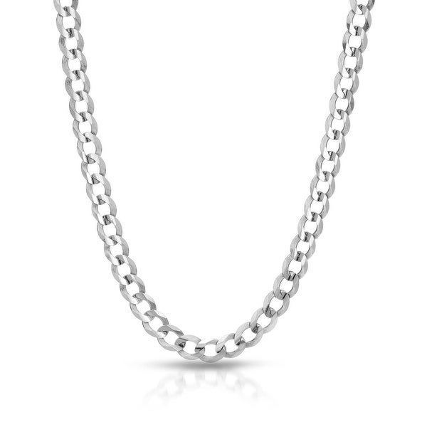 Mcs Jewelry Inc 14 KARAT SOLID WHITE GOLD CURB CHAIN NECKLACE (2.5MM)