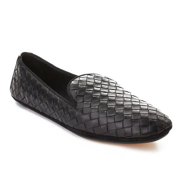 Bottega Veneta Men's Intrecciato Leather Loafer Shoes Black