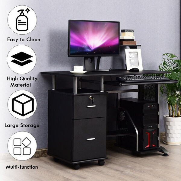 HOMCOM Computer Desk PC Table Workstation Printer Shelf  Home Office Furniture