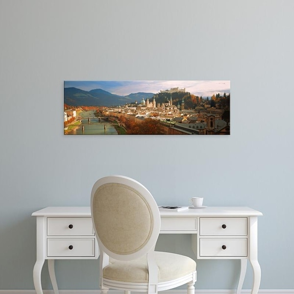 Easy Art Prints Panoramic Images's 'Cityscape Salzburg Austria' Premium Canvas Art