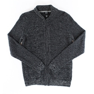 Alfani NEW Deep Black Combo Mens Size XL Full Zip Knit Bomber Sweater