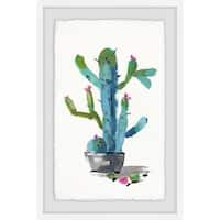 """Marmont Hill MH-JULTCN-46-WFPFL-30 30"""" x 20"""" """"Little Blue Cactus"""" Framed Giclee Painting on Paper"""