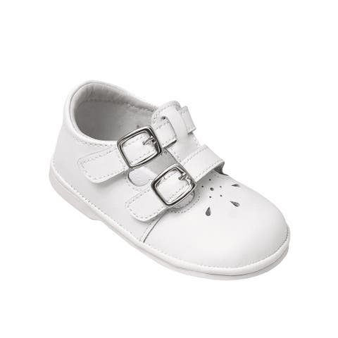 Angel Little Girls White Perforated Double Buckle Mary Jane Shoes 5 Toddler - 5 Toddler