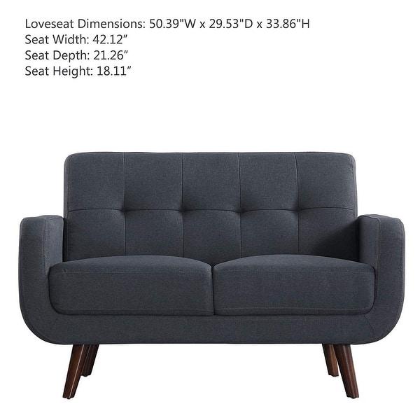 Linen Fabric Sofa Bed Upholstered Modern Tufted Loveseat Futon Sofa  Entertainment (Dark Grey) - Dark Grey