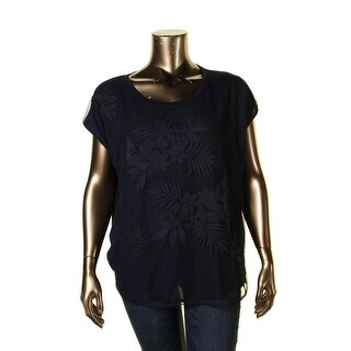 NYDJ Womens Blouse Mesh Embroidered