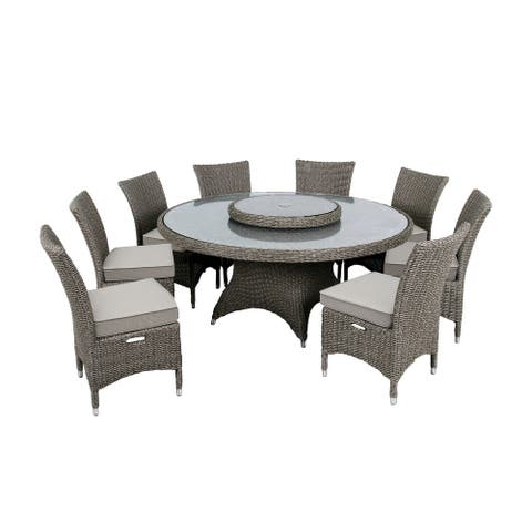 OVE Decors Habra III 9-Piece Aluminum Frame Brown Round Patio Dining Set with Olefin Cushions