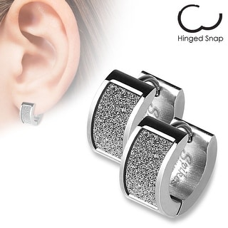 Pair of Square White Sand Sparkle Stainless Steel Hoop Earrings