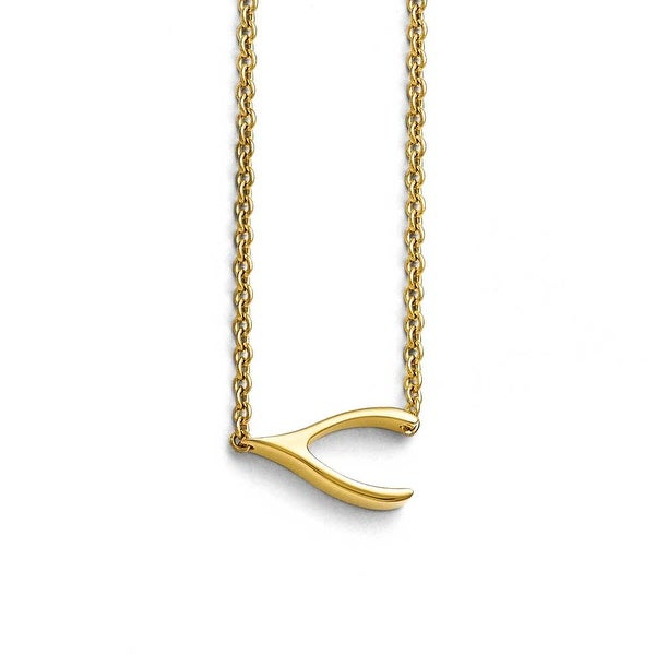 Chisel Stainless Steel Polished Yellow IP-plated Sideways Wishbone Necklace - 16 in