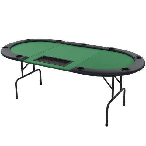 vidaXL 9-Player Folding Poker Table 3 Fold Oval Green