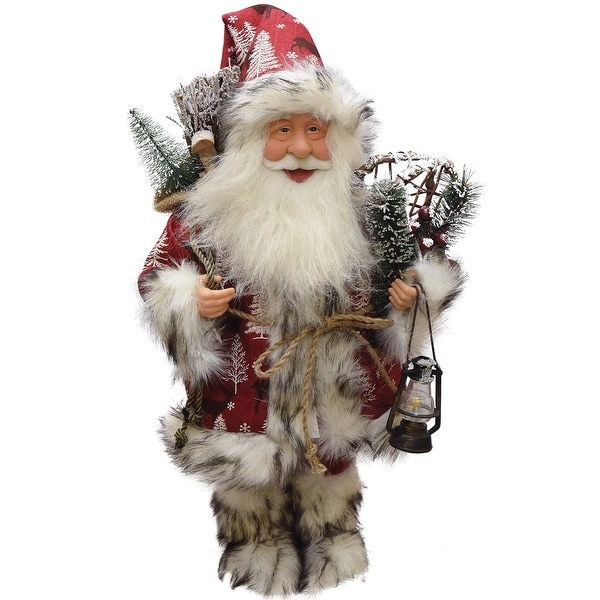 "17"" Santa Claus with Snowshoes and Lantern Christmas Tabletop Decoration"