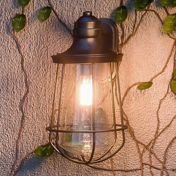 """Luxury Vintage Outdoor Wall Light, 17""""H x 9.5""""W, with Nautical Style, Cage Design, Estate Bronze Finish. Opens flyout."""