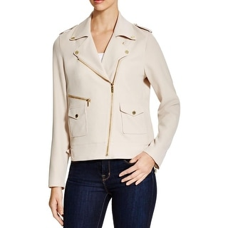 Calvin Klein Womens Motorcycle Jacket Asymmetric Zip Patch Pockets