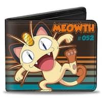 Meowth #052 Happy Pose Stripes Brown Orange Aqua Fade Bi Fold Wallet - One Size Fits most