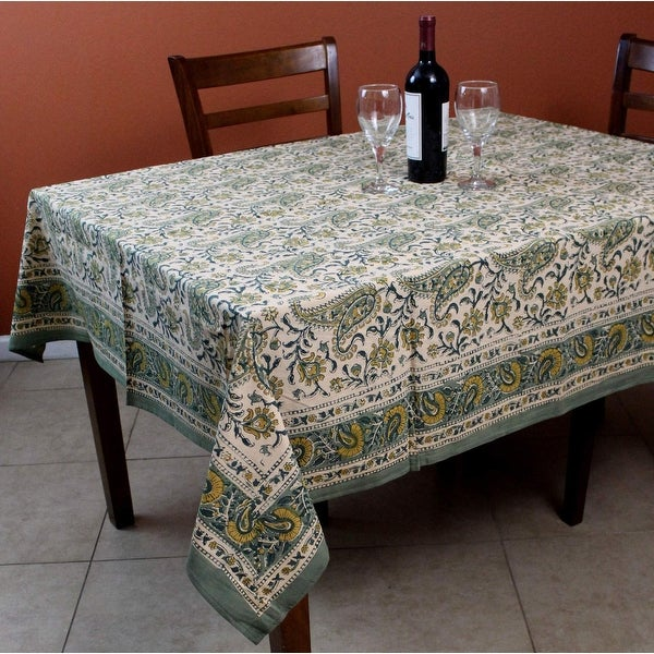 Rajasthan Paisley Cotton Block Print Floral Tablecloth Rectangular Square Round Linen