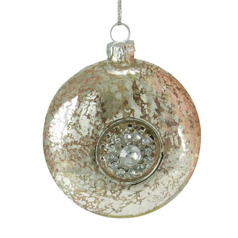 """3.5"""" Silent Luxury Silver with Gem Snowflake Medallion Glass Disk Christmas Ornament - N/A"""