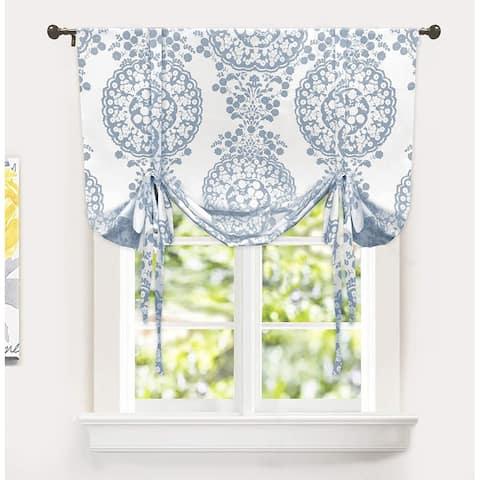 DriftAway Samantha Floral Damask Pattern Tie Up Curtain