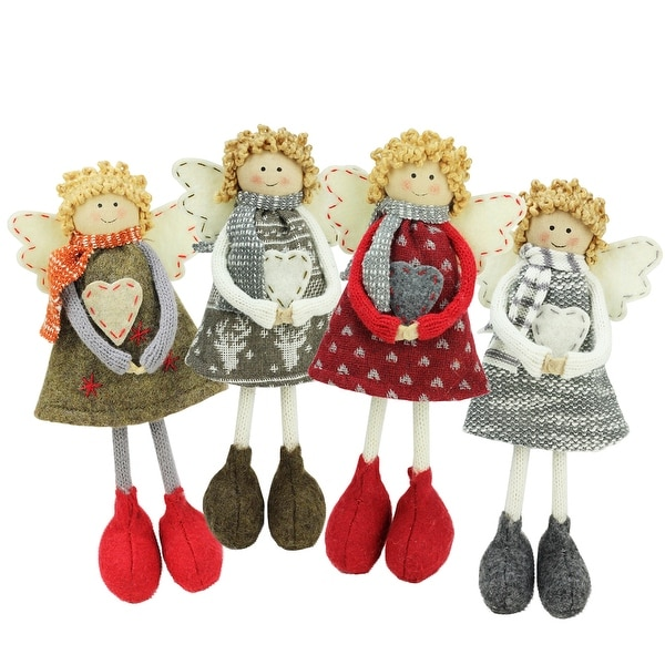 """Set of 4 Holiday Angel Sisters Standing Christmas Decorations 9"""""""