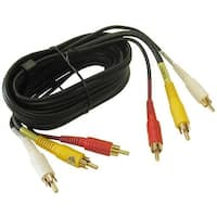 CMPLE 333-N 3-RCA Composite Video Audio A-V AV Cable GOLD -12 ft