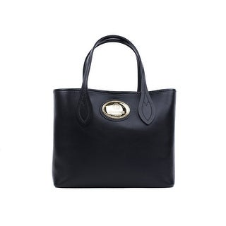 Roberto Cavalli Firenze Black Small Leather Shopping Tote Bag