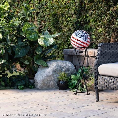 Alpine 12-Inch Mosaic American Flag Gazing Globe Yard Art