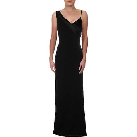 Lauren Ralph Lauren Womens Plus Abra Evening Dress One-Shoulder Full-Length - Black