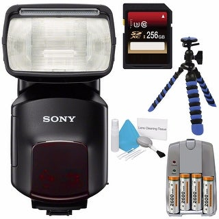 Sony HVL-F60M External Flash + 256GB SDXC Card + 4 AA Pack NiMH Rechargeable Batteries and Charger + Deluxe Cleaning Kit Bundle