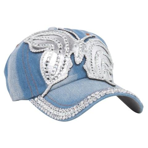 Top Headwear Silver Butterfly Denim Baseball Cap