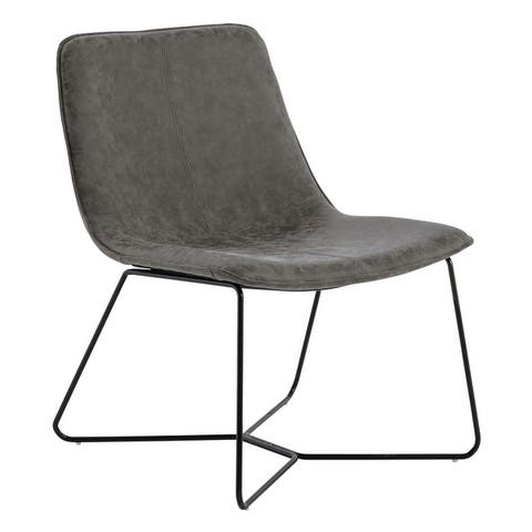 Grayson Accent Chair in Faux Leather with Black Base