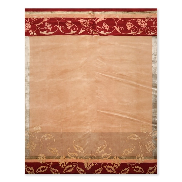 Hand Knotted Superfine Tan,Taupe Tibetan Oriental Area Rug Wool & Silk Transitional Oriental Area Rug (8x10) - 8' x 10'. Opens flyout.