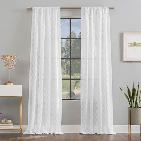 Scott Living Verge Geometric Clipped Jacquard Semi-Sheer Rod Pocket Curtain Panel, Single Panel