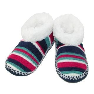 Minx NY Women's Fuzzy Stripe Bootie Slippers - Fuchsia - s/m (6-8.5)