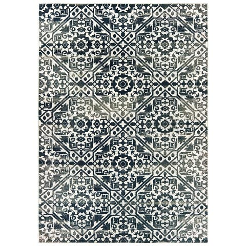 Silver Orchid Brown Floral Tribal Lattice Navy/ Ivory Area Rug