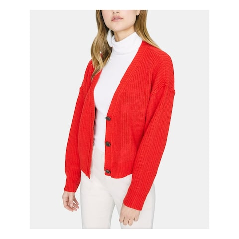 SANCTUARY Womens Red Long Sleeve V Neck Button Up Sweater Size XS
