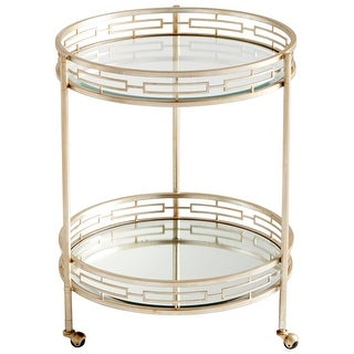 """Cyan Design 8831 Meridian 33"""" Tall X 25"""" Wide Iron and Glass Bar Table with Wheels - Antique Silver - N/A"""