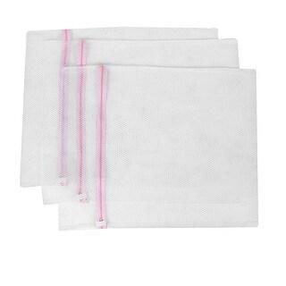 Zipper Lingerie Delicate Clothes Mesh Wash Bag Home Household Net Washing Laundry Bag Pink White 3 Pcs
