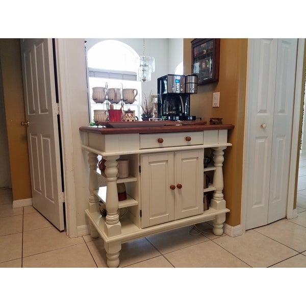 Americana Antiqued White Kitchen Island 5094 94 By Home Styles Free Shipping Today Overstock Com 14215632